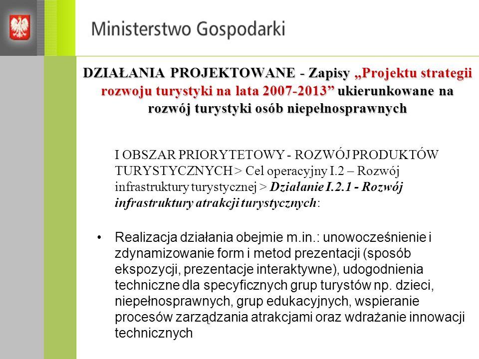 DZIAŁANIA PROJEKTOWANE - Zapisy Projektu strategii rozwoju turystyki na lata 2007-2013 ukierunkowane na rozwój turystyki osób niepełnosprawnych I OBSZ