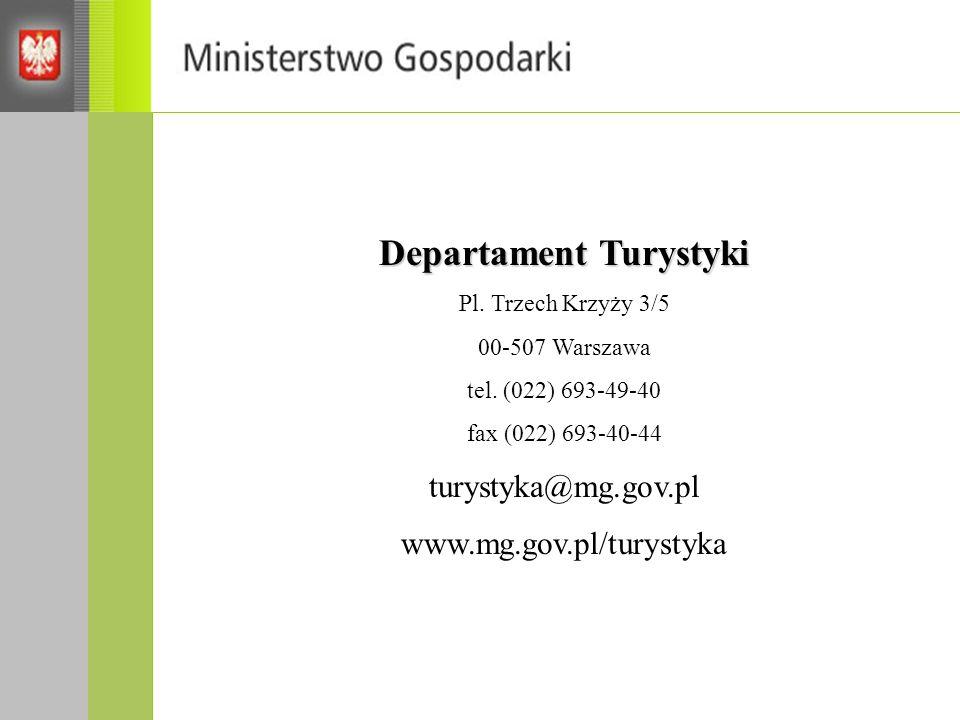 Departament Turystyki Pl. Trzech Krzyży 3/5 00-507 Warszawa tel. (022) 693-49-40 fax (022) 693-40-44 turystyka@mg.gov.pl www.mg.gov.pl/turystyka