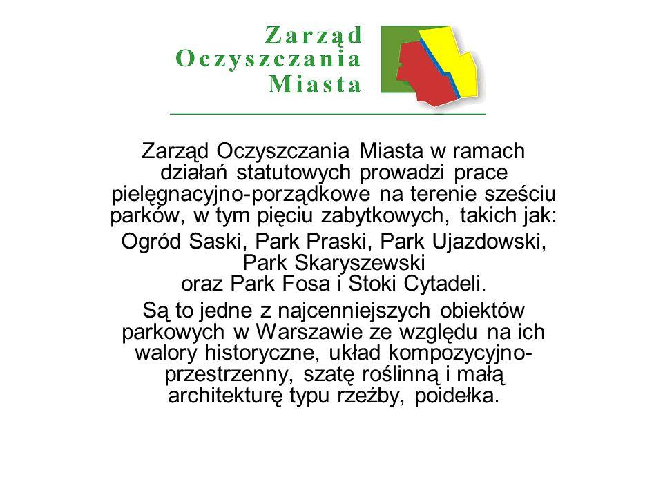 Zarząd Oczyszczania Miasta w ramach działań statutowych prowadzi prace pielęgnacyjno-porządkowe na terenie sześciu parków, w tym pięciu zabytkowych, takich jak: Ogród Saski, Park Praski, Park Ujazdowski, Park Skaryszewski oraz Park Fosa i Stoki Cytadeli.