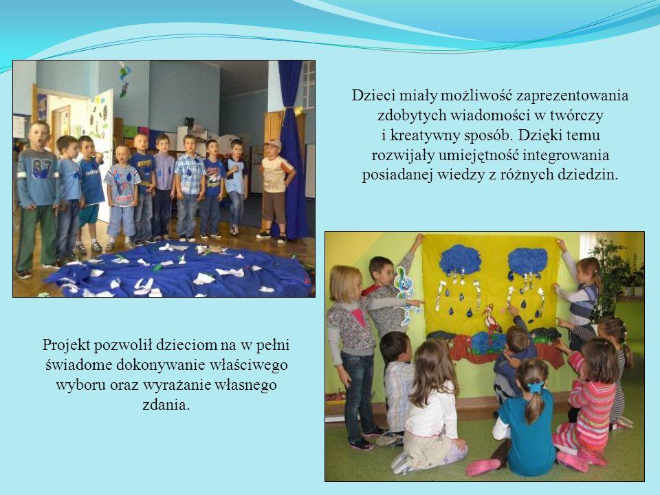 Dzieci miały możliwość zaprezentowania zdobytych wiadomości w twórczy i kreatywny sposób. Dzięki temu rozwijały umiejętność integrowania posiadanej wi