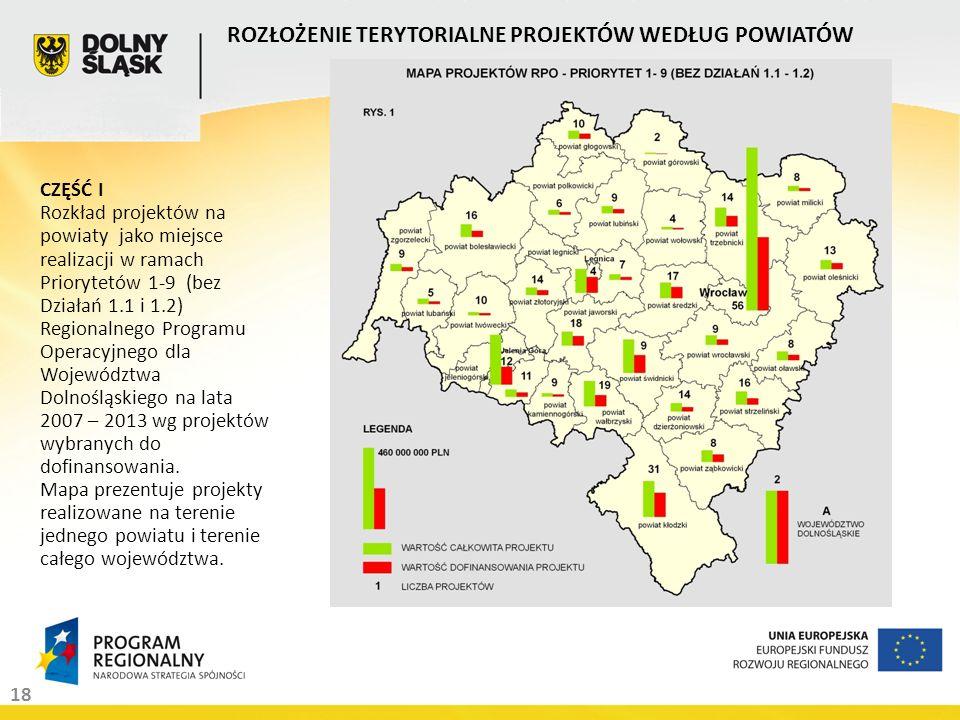 18 ROZŁOŻENIE TERYTORIALNE PROJEKTÓW WEDŁUG POWIATÓW CZĘŚĆ I Rozkład projektów na powiaty jako miejsce realizacji w ramach Priorytetów 1-9 (bez Działa