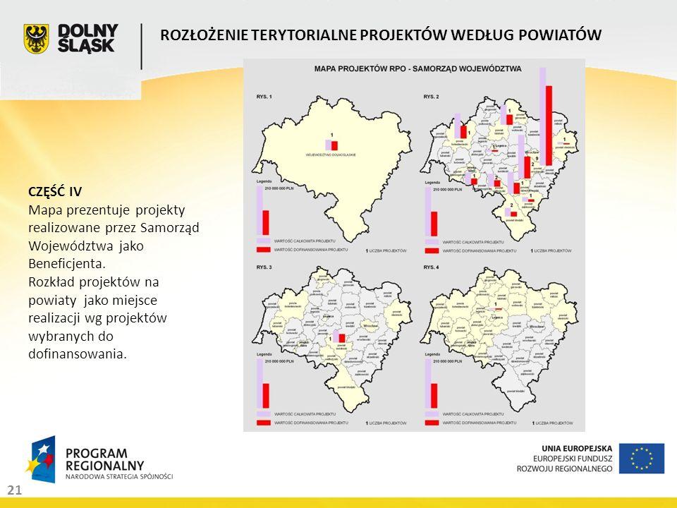 21 ROZŁOŻENIE TERYTORIALNE PROJEKTÓW WEDŁUG POWIATÓW CZĘŚĆ IV Mapa prezentuje projekty realizowane przez Samorząd Województwa jako Beneficjenta. Rozkł