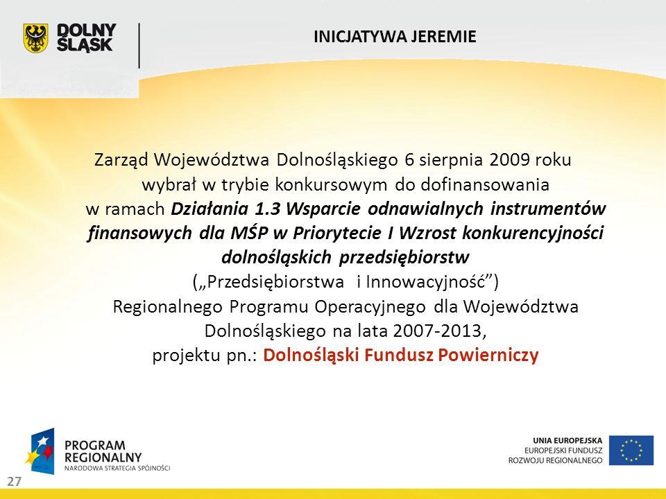 27 Zarząd Województwa Dolnośląskiego 6 sierpnia 2009 roku wybrał w trybie konkursowym do dofinansowania w ramach Działania 1.3 Wsparcie odnawialnych i
