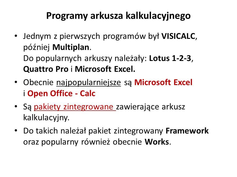 Program – arkusz kalkulacyjny Lotus Program rozróżnia 2 typy zawartości komórek: napisy i wyrażenia.