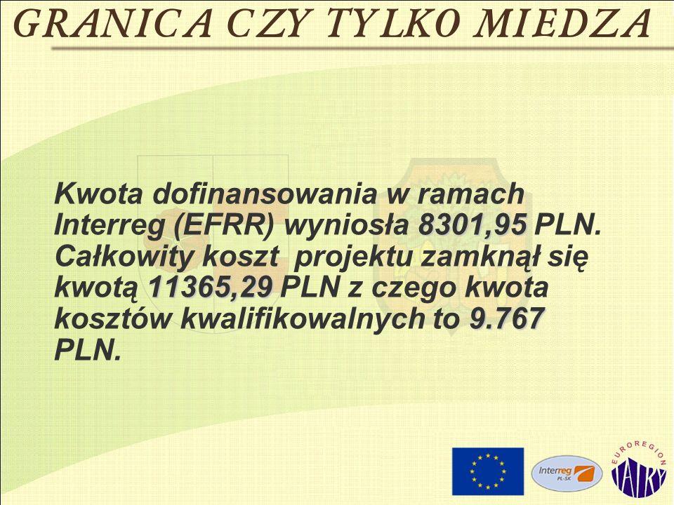 8301,95 11365,29 9.767 Kwota dofinansowania w ramach Interreg (EFRR) wyniosła 8301,95 PLN. Całkowity koszt projektu zamknął się kwotą 11365,29 PLN z c