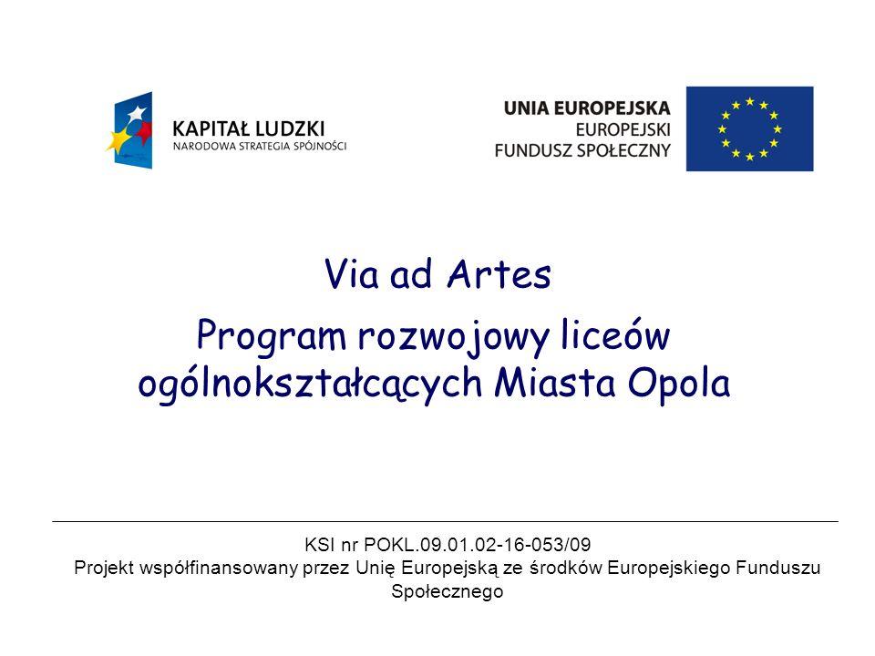 Via ad Artes Program rozwojowy liceów ogólnokształcących Miasta Opola KSI nr POKL.09.01.02-16-053/09 Projekt współfinansowany przez Unię Europejską ze środków Europejskiego Funduszu Społecznego