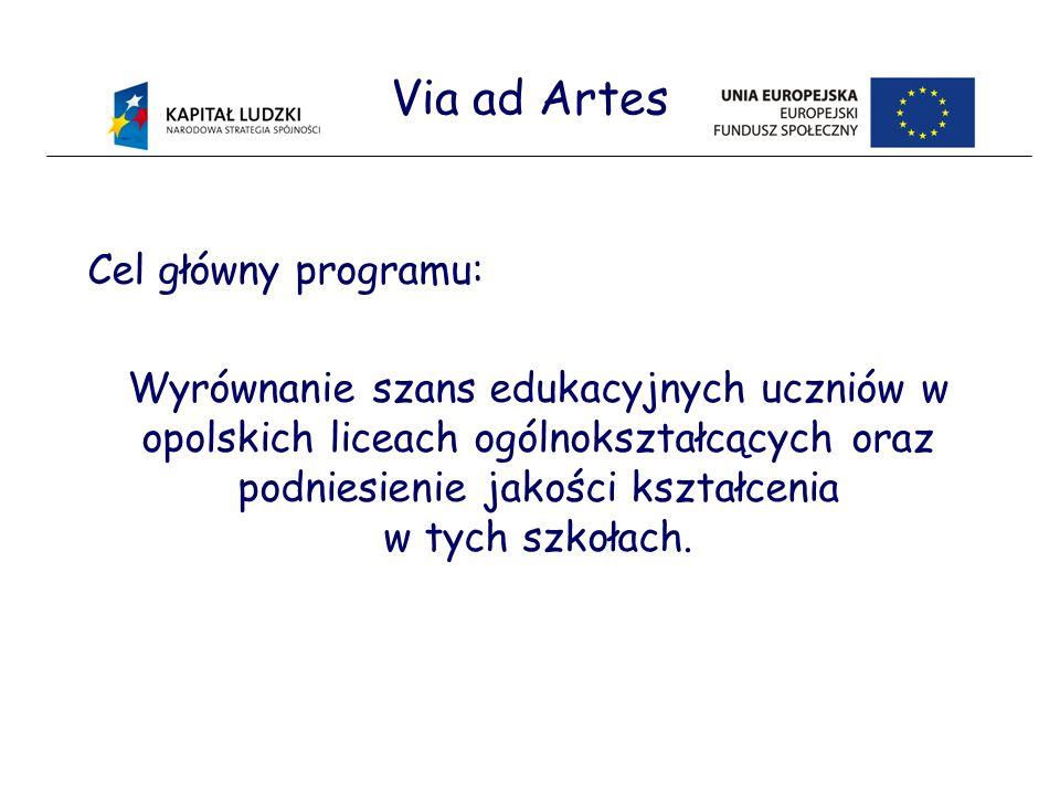 Via ad Artes Cel główny programu: Wyrównanie szans edukacyjnych uczniów w opolskich liceach ogólnokształcących oraz podniesienie jakości kształcenia w tych szkołach.