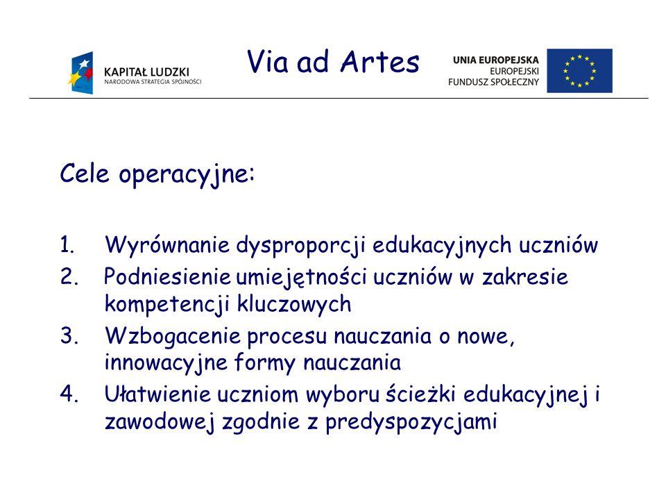 Via ad Artes Cele operacyjne: 1.Wyrównanie dysproporcji edukacyjnych uczniów 2.Podniesienie umiejętności uczniów w zakresie kompetencji kluczowych 3.Wzbogacenie procesu nauczania o nowe, innowacyjne formy nauczania 4.Ułatwienie uczniom wyboru ścieżki edukacyjnej i zawodowej zgodnie z predyspozycjami