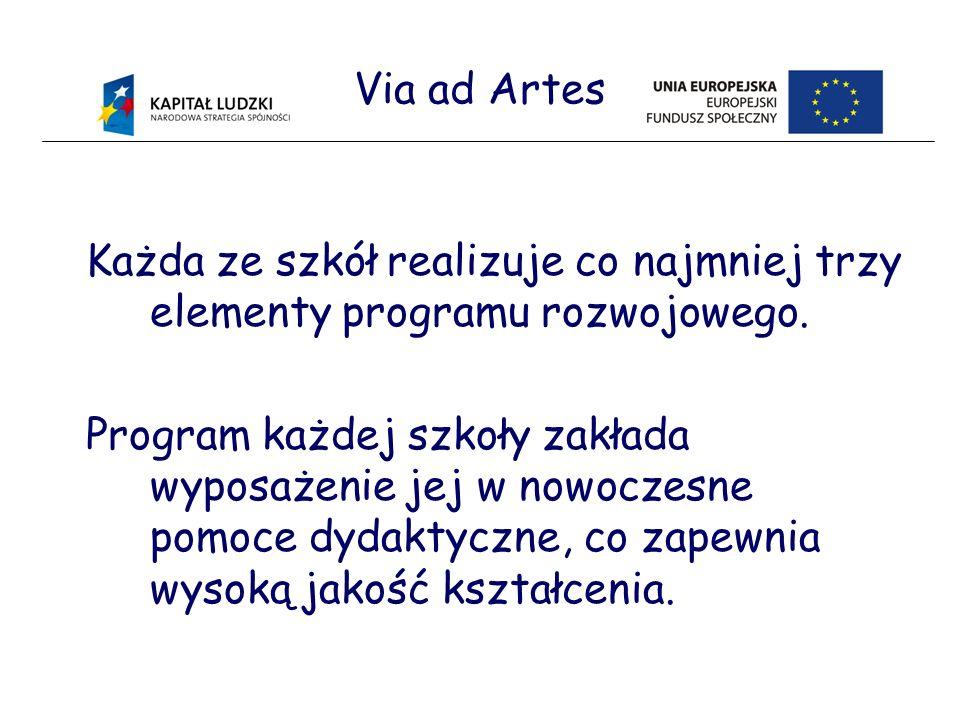 Via ad Artes Każda ze szkół realizuje co najmniej trzy elementy programu rozwojowego.