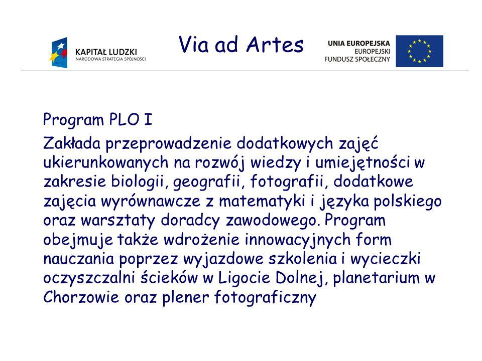 Via ad Artes Program PLO I Zakłada przeprowadzenie dodatkowych zajęć ukierunkowanych na rozwój wiedzy i umiejętności w zakresie biologii, geografii, fotografii, dodatkowe zajęcia wyrównawcze z matematyki i języka polskiego oraz warsztaty doradcy zawodowego.