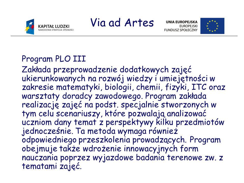 Via ad Artes Program PLO III Zakłada przeprowadzenie dodatkowych zajęć ukierunkowanych na rozwój wiedzy i umiejętności w zakresie matematyki, biologii, chemii, fizyki, ITC oraz warsztaty doradcy zawodowego.