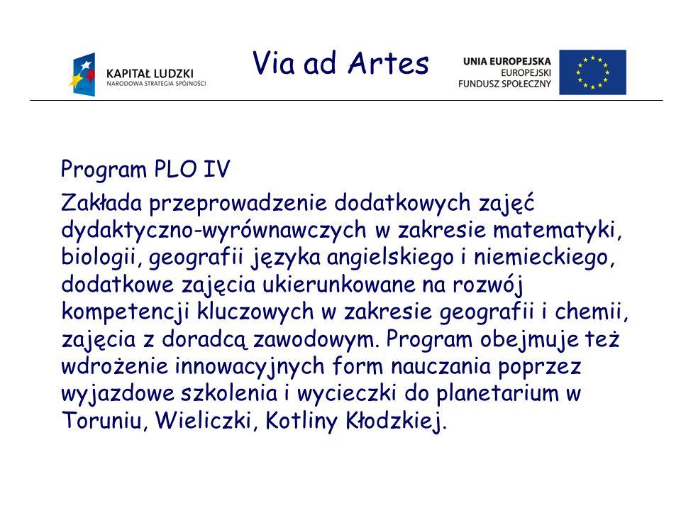 Via ad Artes Program PLO IV Zakłada przeprowadzenie dodatkowych zajęć dydaktyczno-wyrównawczych w zakresie matematyki, biologii, geografii języka angielskiego i niemieckiego, dodatkowe zajęcia ukierunkowane na rozwój kompetencji kluczowych w zakresie geografii i chemii, zajęcia z doradcą zawodowym.