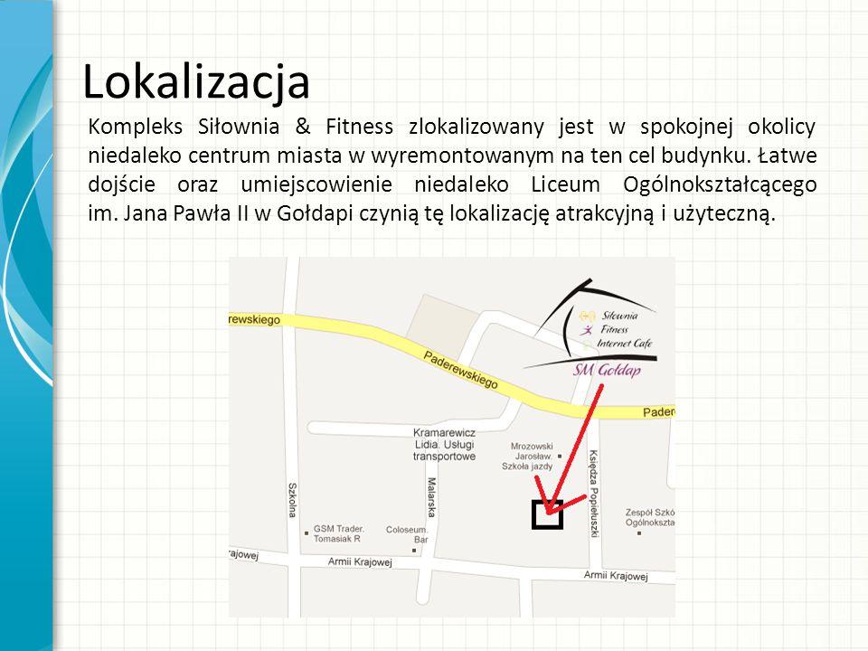 Kompleks Siłownia & Fitness zlokalizowany jest w spokojnej okolicy niedaleko centrum miasta w wyremontowanym na ten cel budynku.