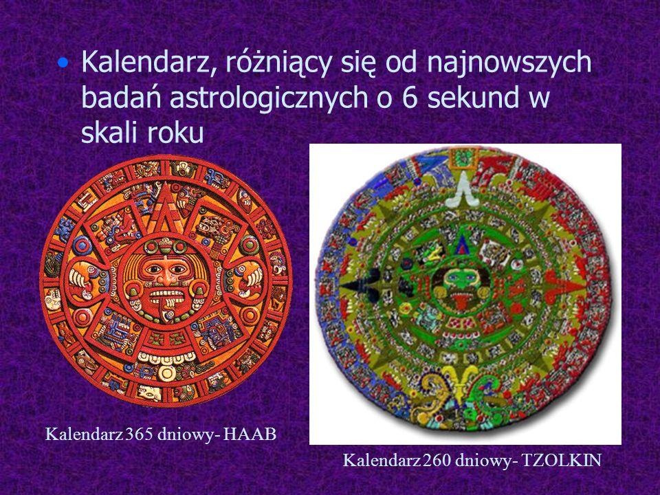 Kalendarz, różniący się od najnowszych badań astrologicznych o 6 sekund w skali roku Kalendarz 365 dniowy- HAAB Kalendarz 260 dniowy- TZOLKIN