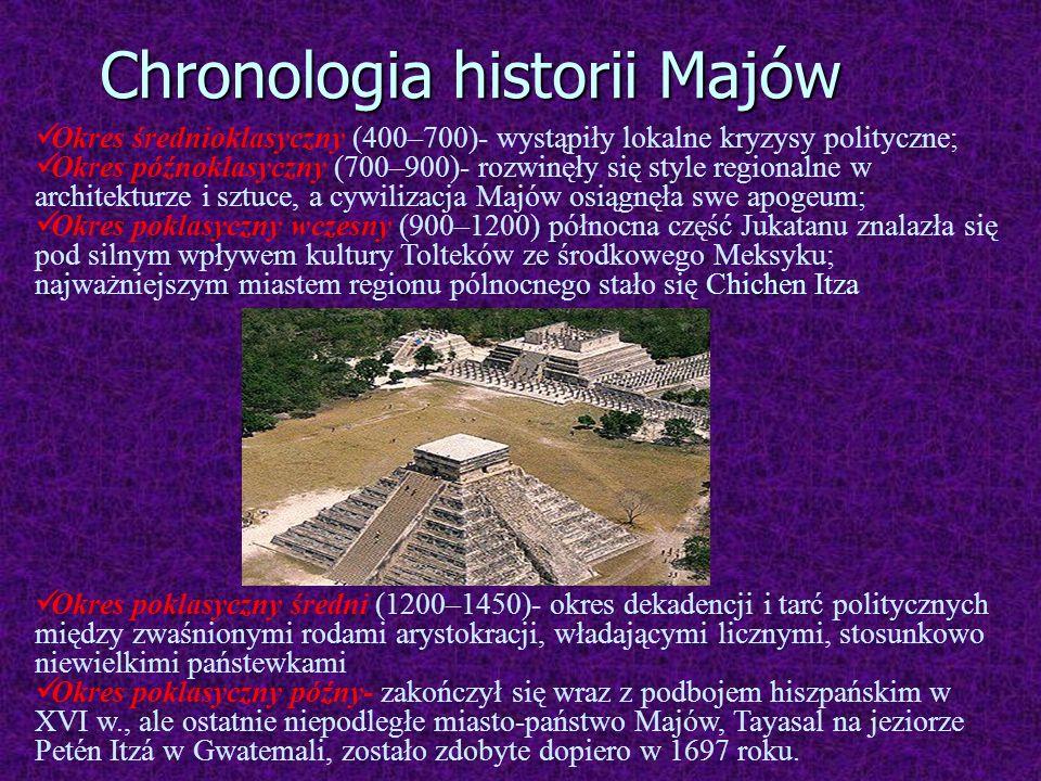 Okres średnioklasyczny (400–700)- wystąpiły lokalne kryzysy polityczne; Okres późnoklasyczny (700–900)- rozwinęły się style regionalne w architekturze