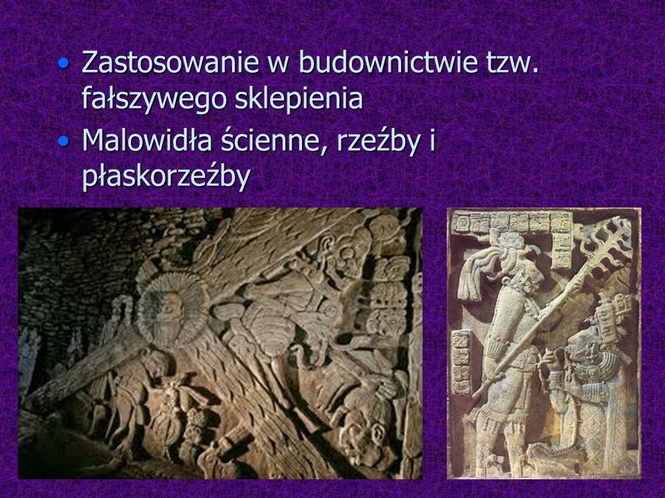 Zastosowanie w budownictwie tzw. fałszywego sklepieniaZastosowanie w budownictwie tzw. fałszywego sklepienia Malowidła ścienne, rzeźby i płaskorzeźbyM