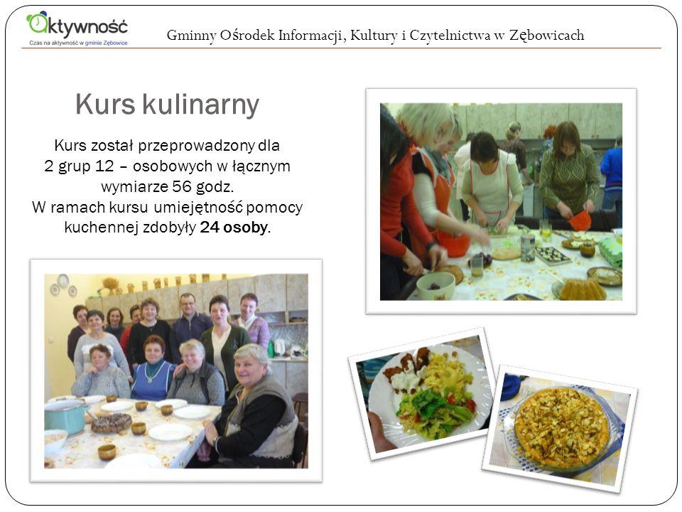 Kurs kulinarny Kurs został przeprowadzony dla 2 grup 12 – osobowych w łącznym wymiarze 56 godz. W ramach kursu umiejętność pomocy kuchennej zdobyły 24
