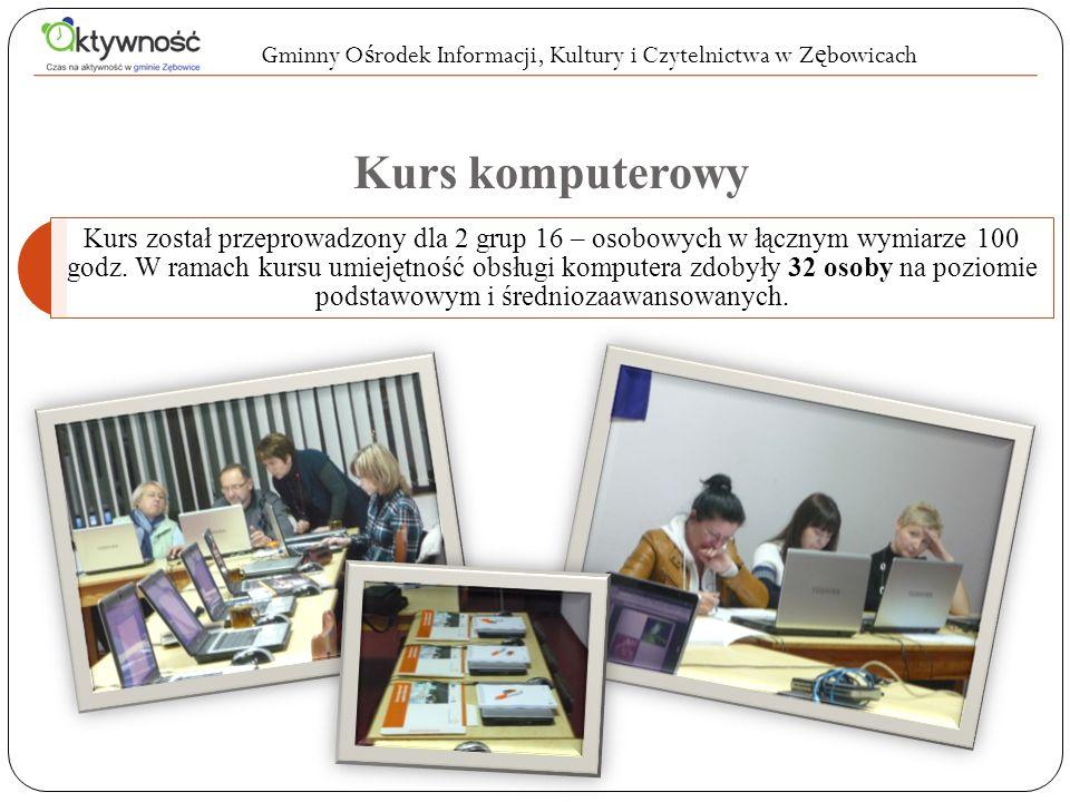 Kurs komputerowy Kurs został przeprowadzony dla 2 grup 16 – osobowych w łącznym wymiarze 100 godz. W ramach kursu umiejętność obsługi komputera zdobył