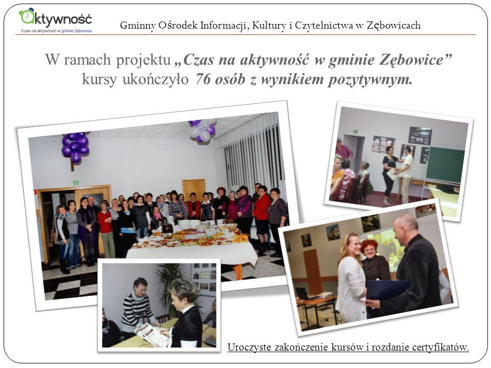 W ramach projektu Czas na aktywność w gminie Zębowice kursy ukończyło 76 osób z wynikiem pozytywnym. Gminny O ś rodek Informacji, Kultury i Czytelnict