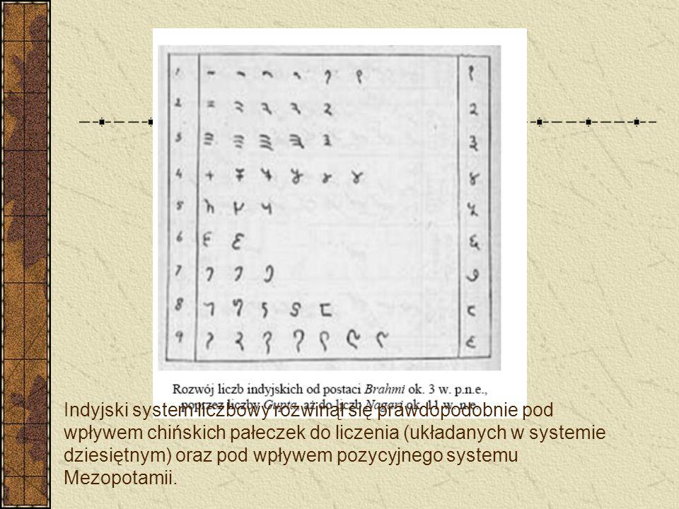 Indyjski system liczbowy rozwinął się prawdopodobnie pod wpływem chińskich pałeczek do liczenia (układanych w systemie dziesiętnym) oraz pod wpływem p