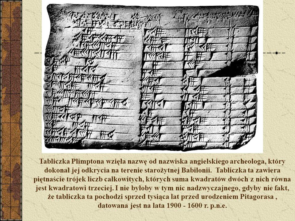 Tabliczka Plimptona wzięła nazwę od nazwiska angielskiego archeologa, który dokonał jej odkrycia na terenie starożytnej Babilonii. Tabliczka ta zawier