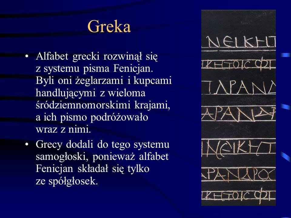 Greka Alfabet grecki rozwinął się z systemu pisma Fenicjan.