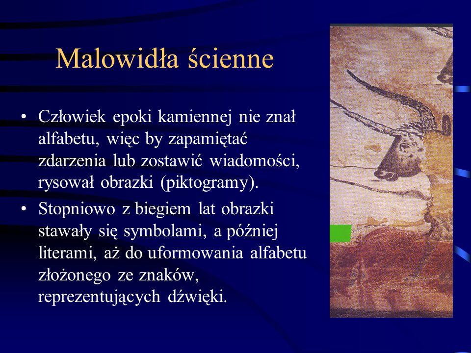 Malowidła ścienne Człowiek epoki kamiennej nie znał alfabetu, więc by zapamiętać zdarzenia lub zostawić wiadomości, rysował obrazki (piktogramy).