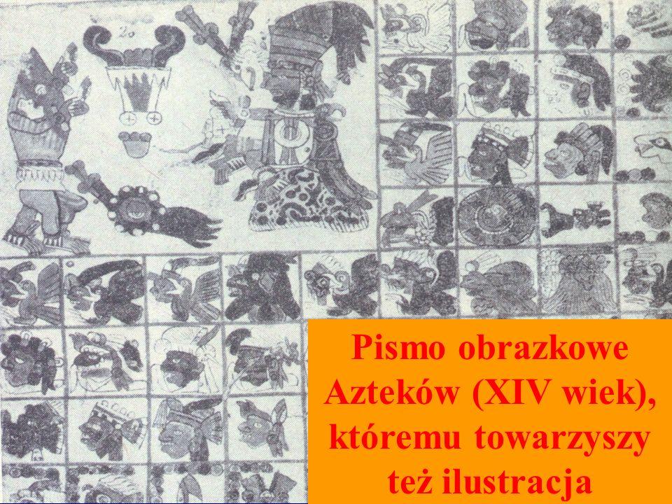 Pismo obrazkowe Azteków (XIV wiek), któremu towarzyszy też ilustracja