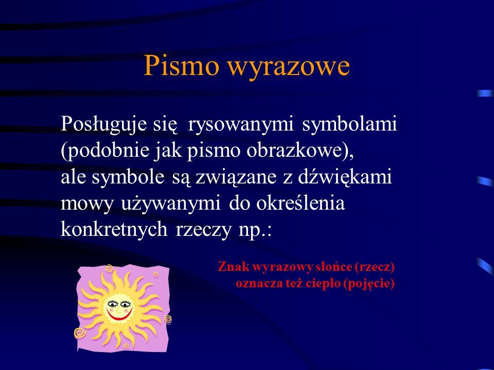 Pismo wyrazowe Posługuje się rysowanymi symbolami (podobnie jak pismo obrazkowe), ale symbole są związane z dźwiękami mowy używanymi do określenia konkretnych rzeczy np.: Znak wyrazowy słońce (rzecz) oznacza też ciepło (pojęcie)