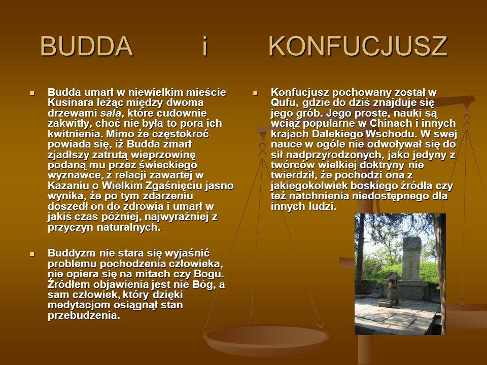 BUDDA i KONFUCJUSZ Budda umarł w niewielkim mieście Kusinara leżąc między dwoma drzewami sala, które cudownie zakwitły, choć nie była to pora ich kwit