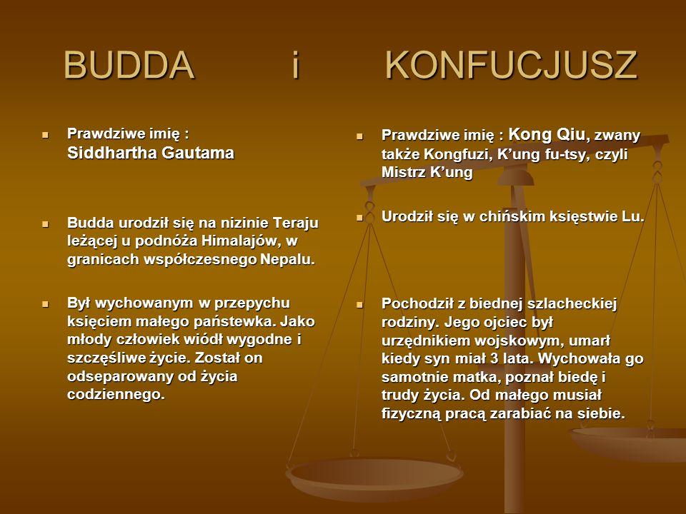 BUDDA i KONFUCJUSZ BUDDA i KONFUCJUSZ Prawdziwe imię : Siddhartha Gautama Prawdziwe imię : Siddhartha Gautama Budda urodził się na nizinie Teraju leżą