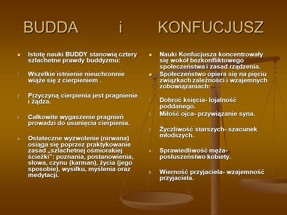 BUDDA i KONFUCJUSZ Istotę nauki BUDDY stanowią cztery szlachetne prawdy buddyzmu: Istotę nauki BUDDY stanowią cztery szlachetne prawdy buddyzmu: 1. Ws