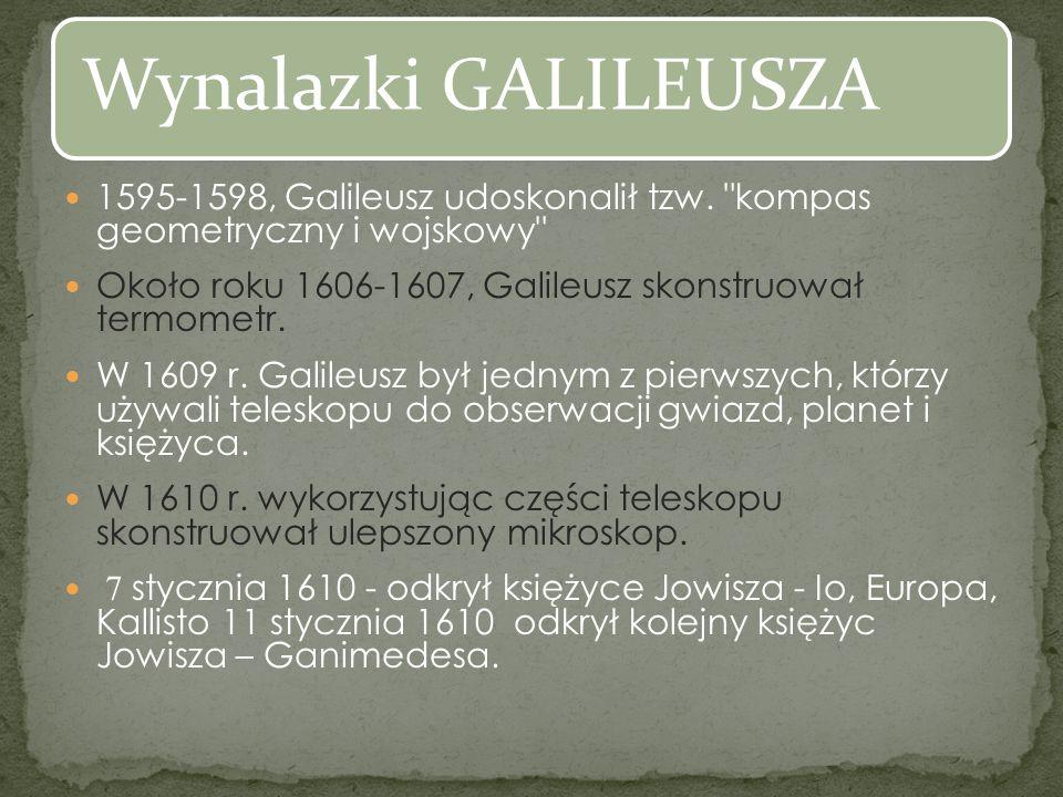1595-1598, Galileusz udoskonalił tzw.