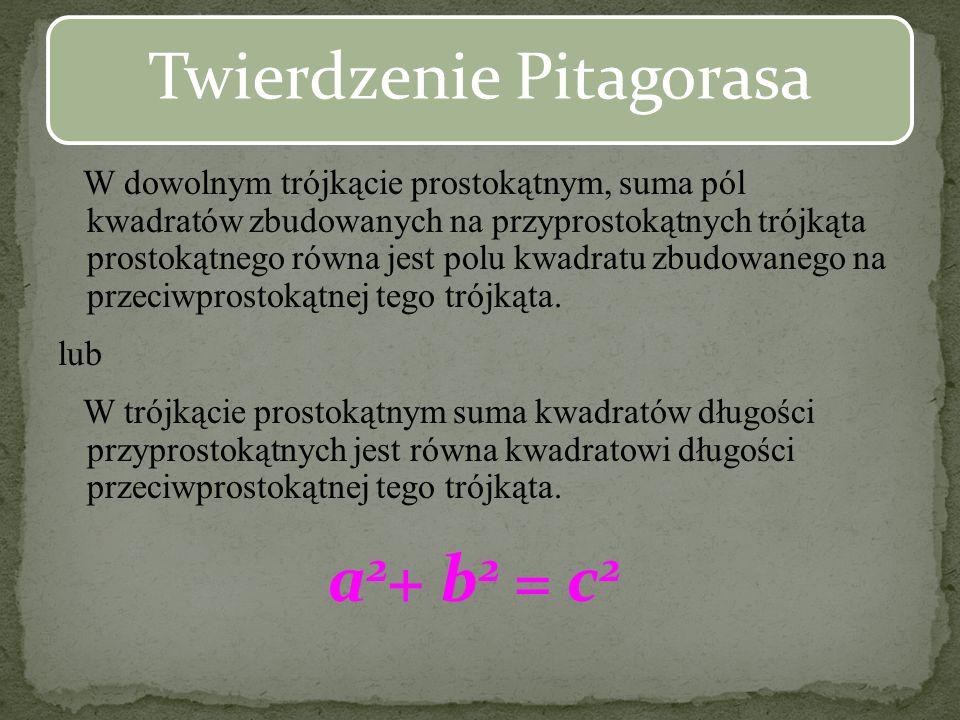 Prawdopodobnie twierdzenie to nie zostało stworzone przez samego Pitagorasa a przez jego przedstawicieli szkoły Pitagorejskiej ???