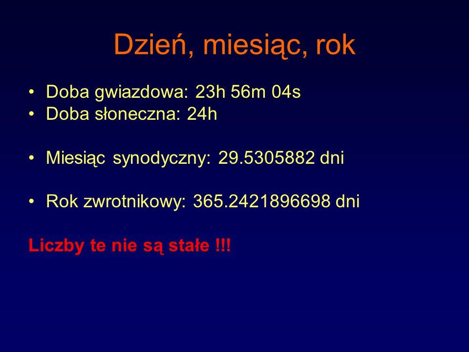 Dzień, miesiąc, rok Doba gwiazdowa: 23h 56m 04s Doba słoneczna: 24h Miesiąc synodyczny: 29.5305882 dni Rok zwrotnikowy: 365.2421896698 dni Liczby te n