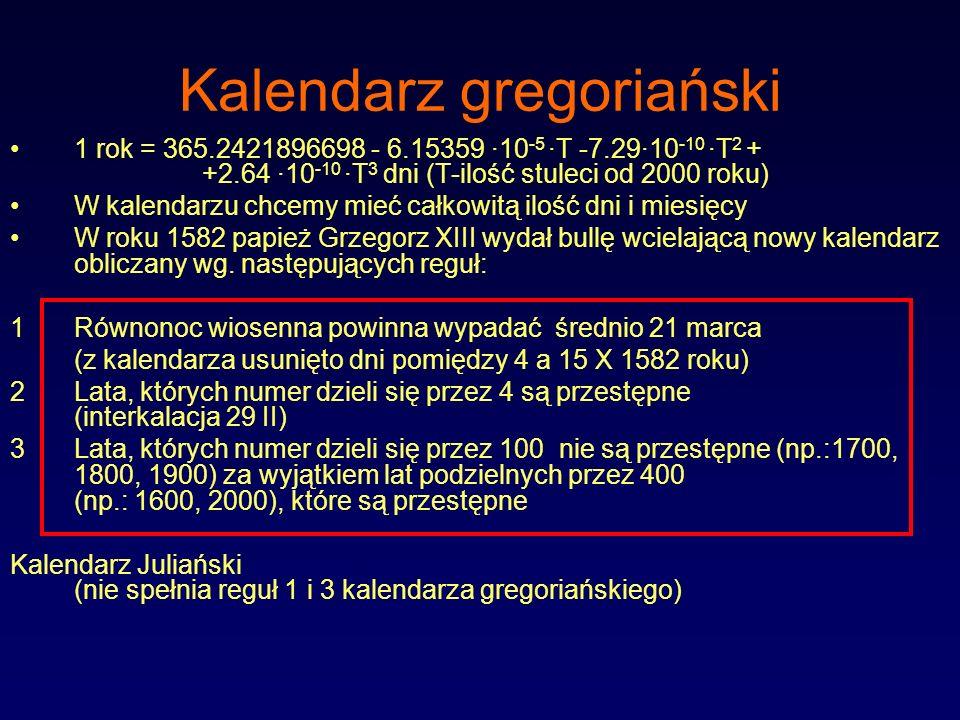 Kalendarz gregoriański 1 rok = 365.2421896698 - 6.15359 ·10 -5 ·T -7.29·10 -10 ·T 2 + +2.64 ·10 -10 ·T 3 dni (T-ilość stuleci od 2000 roku) W kalendar