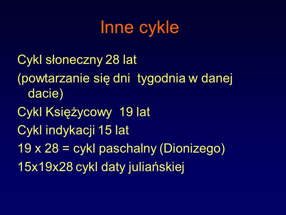 Inne cykle Cykl słoneczny 28 lat (powtarzanie się dni tygodnia w danej dacie) Cykl Księżycowy 19 lat Cykl indykacji 15 lat 19 x 28 = cykl paschalny (D