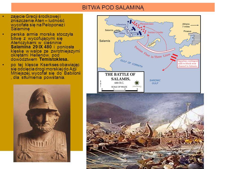 BITWA POD SALAMINĄ zajęcie Grecji środkowej i zniszczenie Aten – ludność wycofała się na Peloponez i Salaminę perska armia morska stoczyła bitwę z wyc
