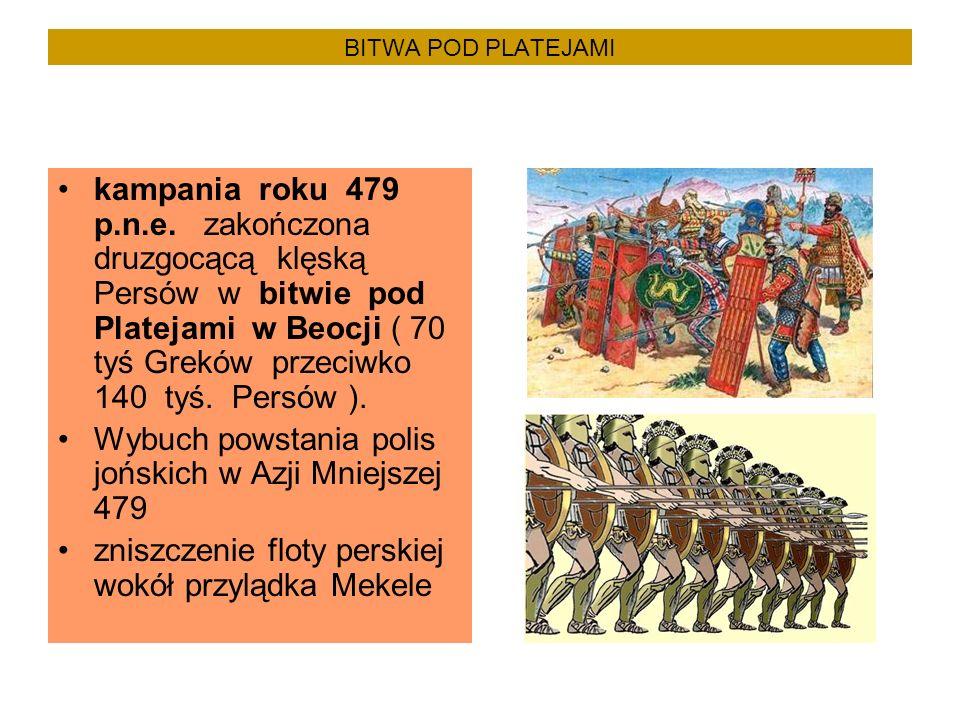 BITWA POD PLATEJAMI kampania roku 479 p.n.e. zakończona druzgocącą klęską Persów w bitwie pod Platejami w Beocji ( 70 tyś Greków przeciwko 140 tyś. Pe