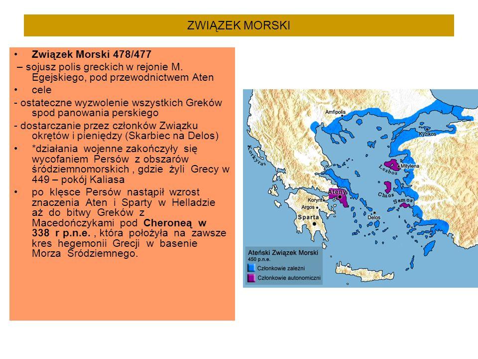 ZWIĄZEK MORSKI Związek Morski 478/477 – sojusz polis greckich w rejonie M. Egejskiego, pod przewodnictwem Aten cele - ostateczne wyzwolenie wszystkich