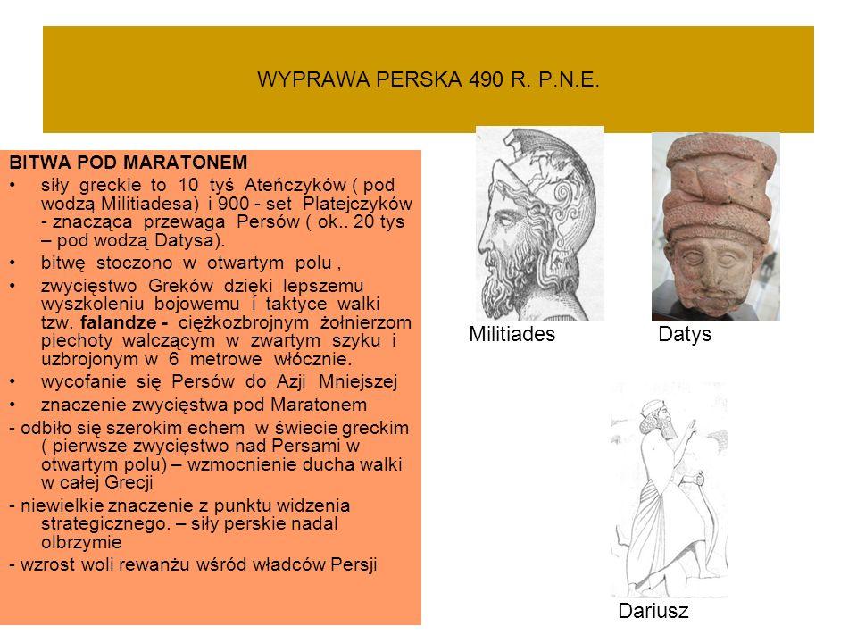 WYPRAWA PERSKA 490 R. P.N.E. BITWA POD MARATONEM siły greckie to 10 tyś Ateńczyków ( pod wodzą Militiadesa) i 900 - set Platejczyków - znacząca przewa