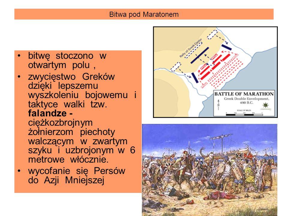 Bitwa pod Maratonem bitwę stoczono w otwartym polu, zwycięstwo Greków dzięki lepszemu wyszkoleniu bojowemu i taktyce walki tzw. falandze - ciężkozbroj