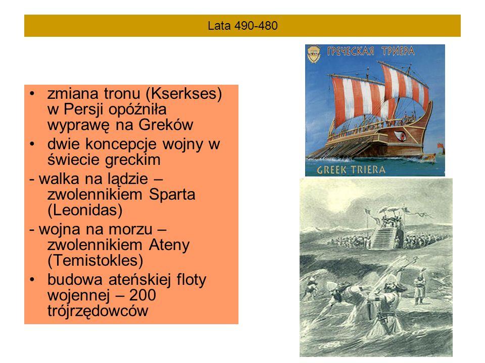 Lata 490-480 zmiana tronu (Kserkses) w Persji opóźniła wyprawę na Greków dwie koncepcje wojny w świecie greckim - walka na lądzie – zwolennikiem Spart