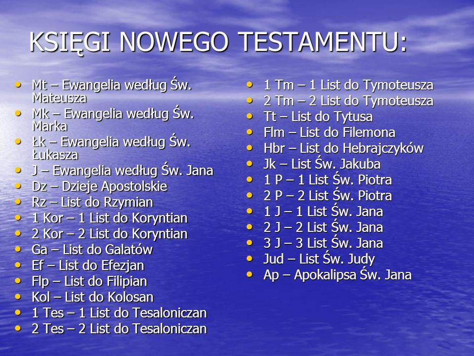 KSIĘGI NOWEGO TESTAMENTU: Mt – Ewangelia według Św. Mateusza Mt – Ewangelia według Św. Mateusza Mk – Ewangelia według Św. Marka Mk – Ewangelia według