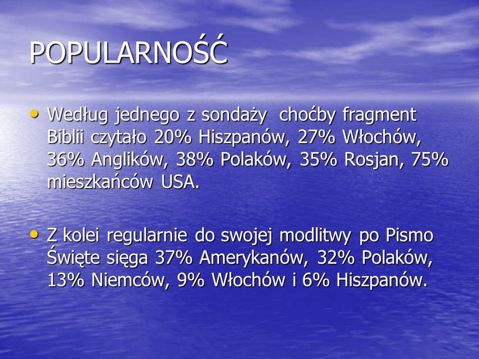 POPULARNOŚĆ Według jednego z sondaży choćby fragment Biblii czytało 20% Hiszpanów, 27% Włochów, 36% Anglików, 38% Polaków, 35% Rosjan, 75% mieszkańców