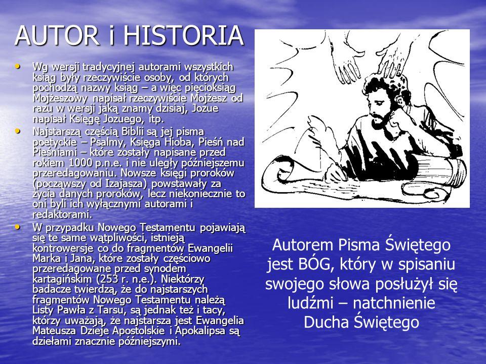 AUTOR i HISTORIA Wg wersji tradycyjnej autorami wszystkich ksiąg były rzeczywiście osoby, od których pochodzą nazwy ksiąg – a więc pięcioksiąg Mojżesz