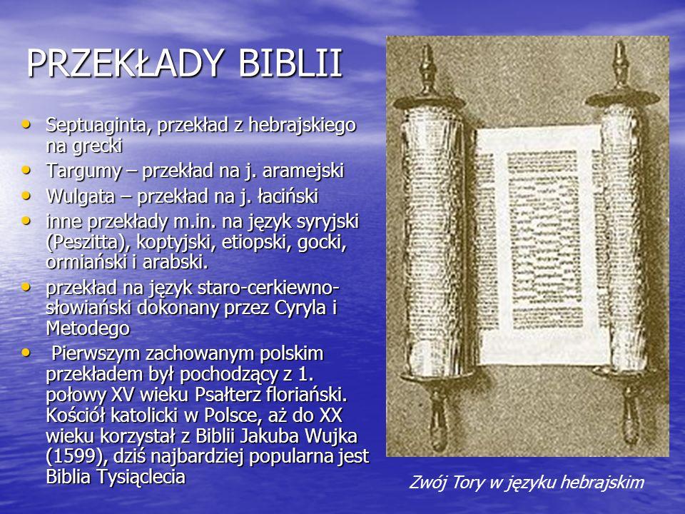 PRZEKŁADY BIBLII Septuaginta, przekład z hebrajskiego na grecki Septuaginta, przekład z hebrajskiego na grecki Targumy – przekład na j. aramejski Targ