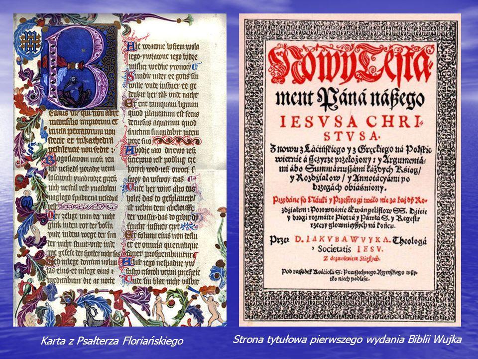 Karta z Psałterza Floriańskiego Strona tytułowa pierwszego wydania Biblii Wujka
