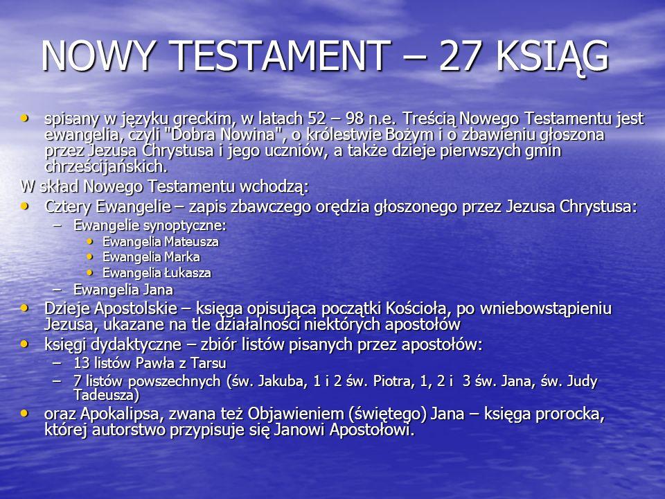 NOWY TESTAMENT – 27 KSIĄG spisany w języku greckim, w latach 52 – 98 n.e. Treścią Nowego Testamentu jest ewangelia, czyli
