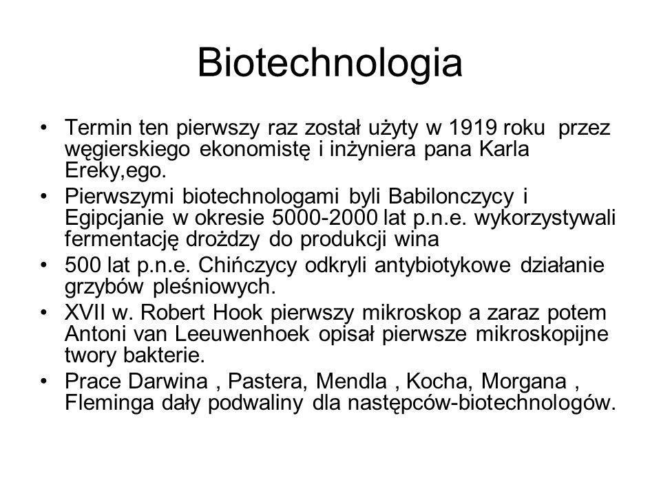 Biotechnologia 1973 –Cohen i Boyer opracowali metodę rekombinacji DNA 1982-Eli Lilly pierwszy rekombinowany lek insulina ludzka 1989- antygen / hepatitis B / Merck, SKB 2003 potrafimy sekwencjonować ludzki genom.